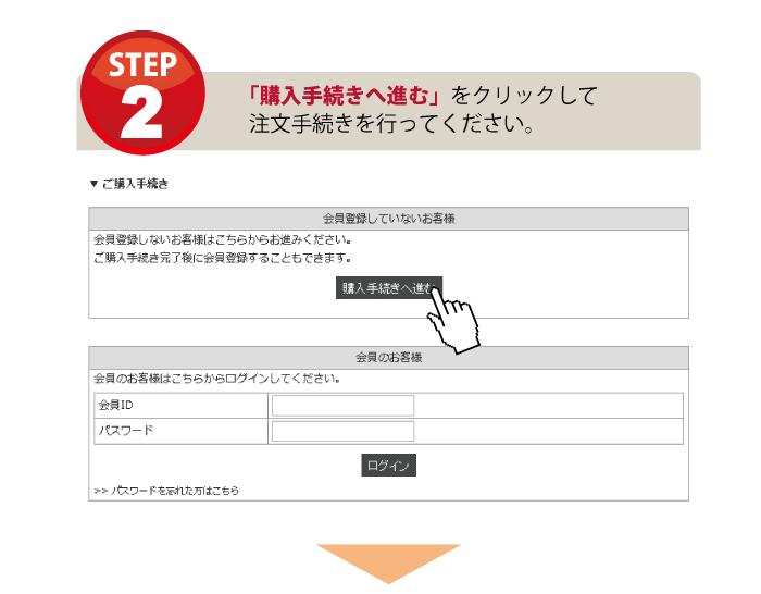 会員登録の流れをご説明する画像です。ご注文手続きを完了させてください