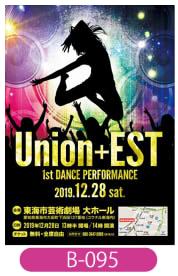 Union+EST様の公演会チラシです。ダンスの公演との事なのでそちらをイメージしたデザインとなっています。