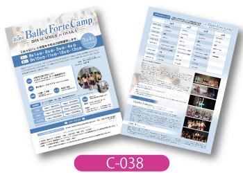 BalletForte様サマーキャンプの告知用チラシの画像です。情報を読みやすくまとめ、全体を青で統一したシンプルで爽やかなデザインです。