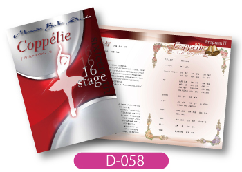モバードバレエスタジオ様発表会用プログラムの画像です。赤とシルバーのツートーンでシックな仕上がりのデザインです